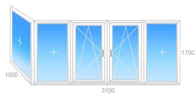 Г-образная балконная рама ПВХ, три створки глухих, две поворотно-откидных