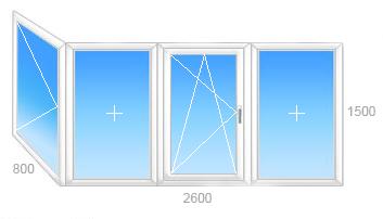 Г-образный балкон: центральная трехстворчатая часть с одним поворотно-откидной створкой и поворотным боковым окном